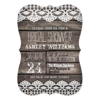 White Lace; Rustic Brown Wood Bridal Shower 13 Cm X 18 Cm Invitation Card
