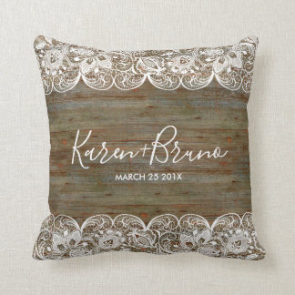 White Lace & Rustic Faux Wood Wedding Design Cushion