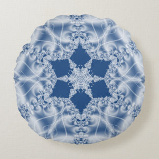 White lace satin look fractal pattern round cushion