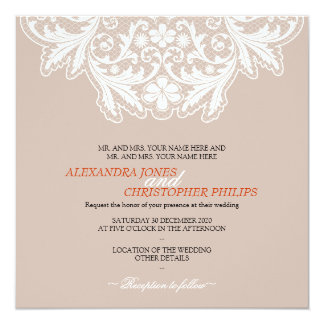 White Lace Simple Elegant Text Wedding Orange 13 Cm X 13 Cm Square Invitation Card