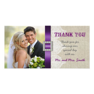 White Lace Vintage Wedding Thank You Photo Purple Card