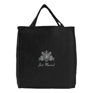 White Lace Wedding - Just Married Tote Canvas Bags
