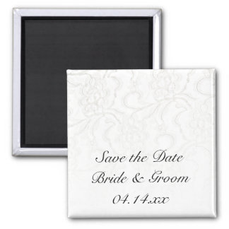 White Lace Wedding Save the Date Square Magnet