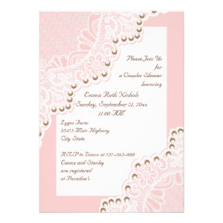 white lace with pearls pink wedding couples shower custom invite