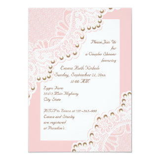 white lace with pearls pink wedding couples shower 5x7 paper invitation card