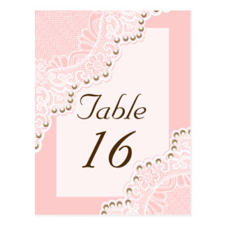 White lace with pearls pink wedding table number postcard
