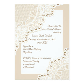 White lace with pearls wedding bridal shower 13 cm x 18 cm invitation card