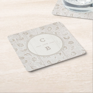 White lace wood rustic country wedding monogram square paper coaster