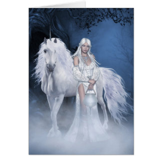 White Lady and Unicorn Note Card
