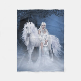 White Lady and Unicorn Small Fleece Blanket