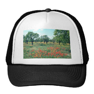 White Landscape of poppies and cork trees in Spain Trucker Hat