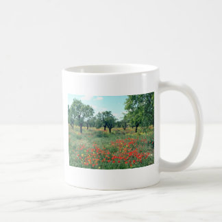 White Landscape of poppies and cork trees in Spain Mug