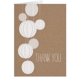 White Lanterns Cardstock Inspired Thank You Greeting Card
