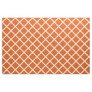 White Lattice on Wild Tangerine Fabric