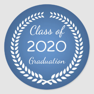 White laurel wreath on blue Graduation Classic Round Sticker