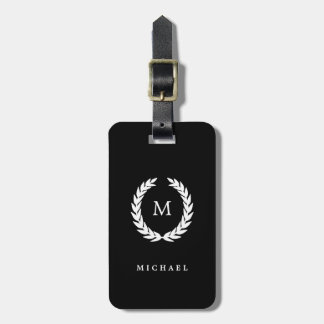 White Laurel Wreath with Monogram on Black Luggage Tag