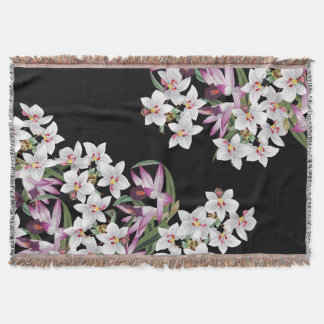 White Lavender Orchid Flowers Throw Blanket