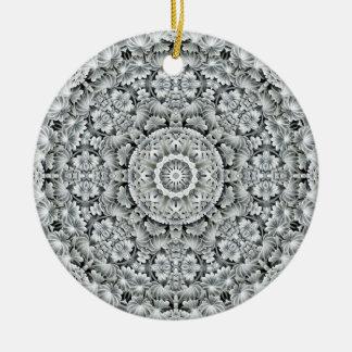 White Leaf Pattern Circle Ornaments 6 shapes