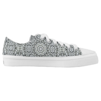 White Leaf Pattern Custom Low Top Shoes