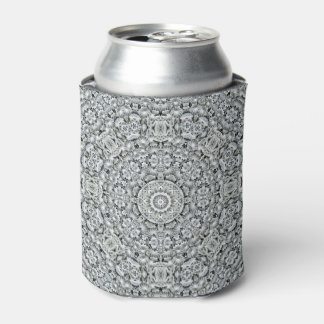 White Leaf Pattern  Kaleidoscope  Can Cooler