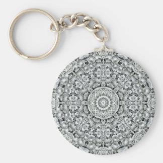 White Leaf Pattern   Keychain