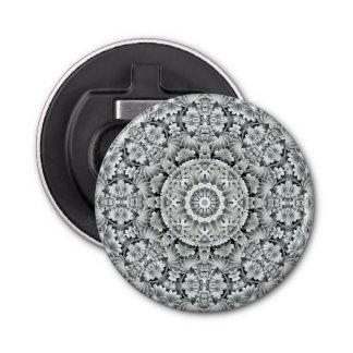 White Leaf Pattern  Magnetic Round  Bottle Opener