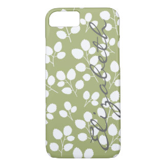 White Leaf Pattern on Moss   iPhone 7 case