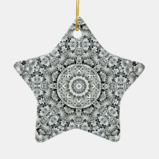 White Leaf  Vintage Pattern Circle Ornaments