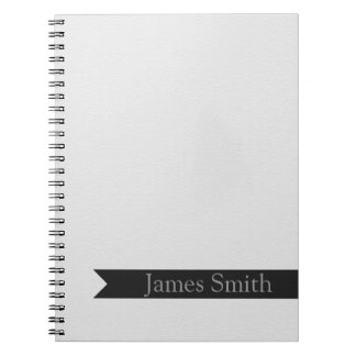 White Leather Inspired Faux Print Spiral Note Book
