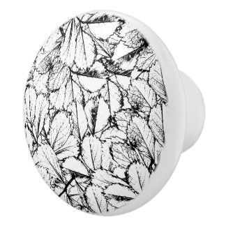 White Leaves Ceramic Knob