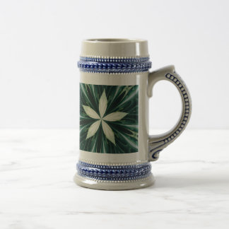 White Leaves In A Green Forest Kaleidoscope Beer Stein