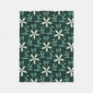 White Leaves In A Green Forest Kaleidoscope Fleece Blanket