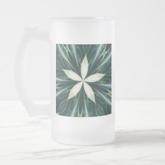 White Leaves In A Green Forest Kaleidoscope Frosted Glass Beer Mug