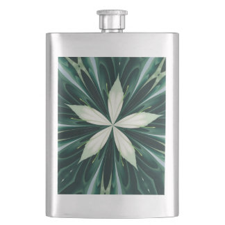 White Leaves In A Green Forest Kaleidoscope Hip Flask
