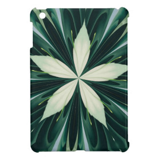 White Leaves In A Green Forest Kaleidoscope iPad Mini Case