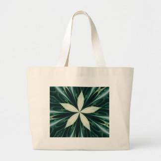 White Leaves In A Green Forest Kaleidoscope Large Tote Bag