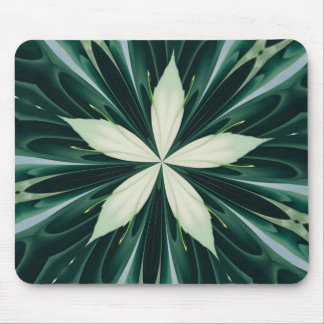 White Leaves In A Green Forest Kaleidoscope Mouse Pad