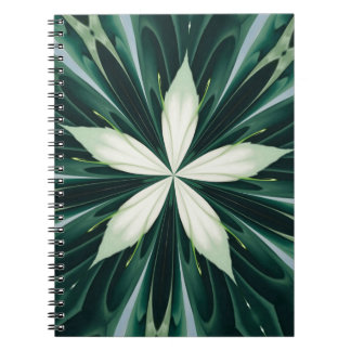 White Leaves In A Green Forest Kaleidoscope Notebook