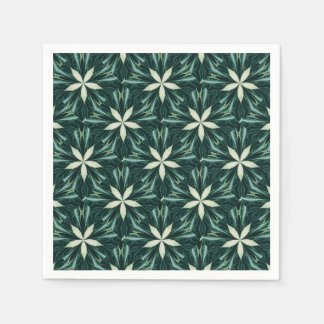 White Leaves In A Green Forest Kaleidoscope Paper Napkin