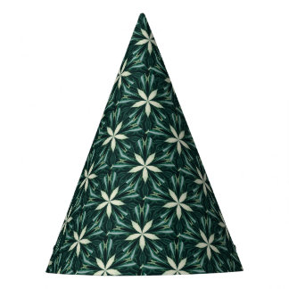 White Leaves In A Green Forest Kaleidoscope Party Hat
