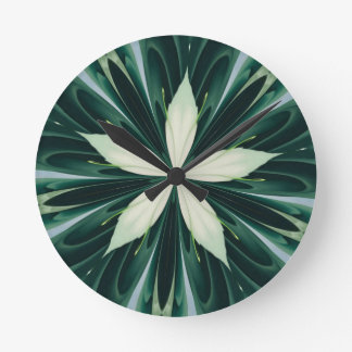 White Leaves In A Green Forest Kaleidoscope Round Clock