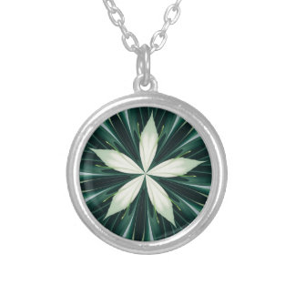 White Leaves In A Green Forest Kaleidoscope Silver Plated Necklace