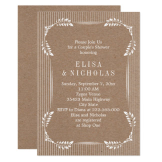 White leaves kraft paper wedding couples shower card