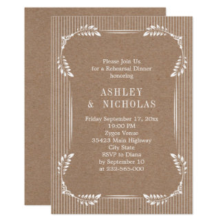 White leaves kraft paper wedding rehearsal dinner card