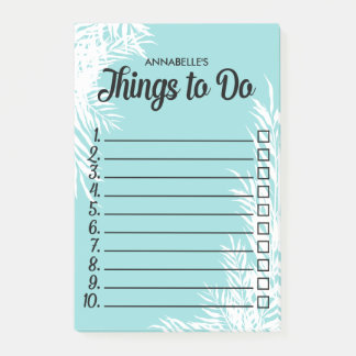 White Leaves Numbered Checkbox To Do List Post-it Notes