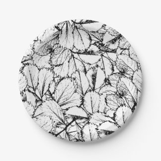 White Leaves Paper Plate
