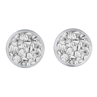 White Leaves Silver Finish Cuff Links