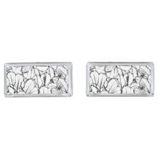 White Leaves Silver Finish Cufflinks
