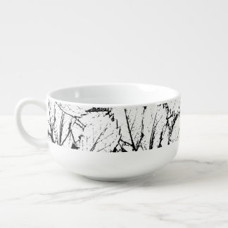 White Leaves Soup Bowl With Handle