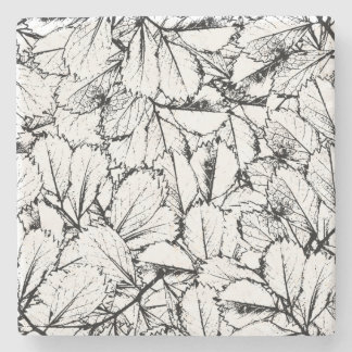 White Leaves Stone Coaster